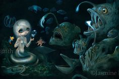 Abyssal Mermaid Big Blue Whale and Manta Ray by strangeling