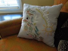 Custom Embroidered California Pillow by Too Crewel. Custom pillows start at  $40.00.
