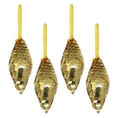 Décoration pour sapin de noël - Lot de 4 pommes de pin décoratives à suspendre - Sequins dorées