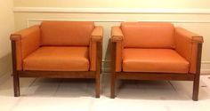 Pair Mid Century Modern Orange Vinyl Walnut by TheVintagePlus