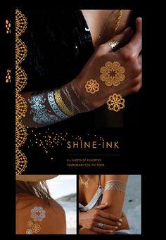 Vintage Collection | Shine-Ink Temporary Metallic Tattoos Metal Tattoo, Metallic, Bling, Reading, Tattoos, Books, Collection, Vintage, Jewel