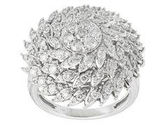 Park Avenue(Tm) 1.50ctw Round White Diamond 14k White Gold Cluster Rin