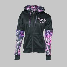 Moon Shine Attitude Attire Muddy Girl Pink Camo Sleeve Black Zipper Hoodie #MoonShineAttitudeAttire #Hoodie