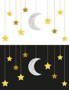 Gold and silver moon and stars Gold und Silber Mond und Sterne Illustrations Eid Crafts, Ramadan Crafts, Ramadan Decorations, Diy And Crafts, Crafts For Kids, Paper Crafts, Islamic Decor, Islamic Art, Decoraciones Ramadan