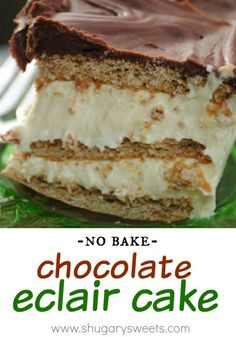 """Classic """"no bake"""" Chocolate Eclair Cake. This is our family's favorite dessert! So easy, so delicious."""