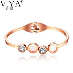 11f93ba10a 16CM Plating Rose Gold Bangle for Female Shell V.YA Stainless Steel Bangles  Women Jewelry