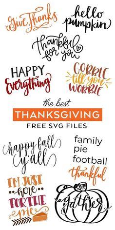 Cricut Fonts, Cricut Vinyl, Cricut Svg Files Free, Free Svg Cut Files, Thanksgiving Crafts, Fall Crafts, Diy Crafts, Free Thanksgiving Printables, Creative Crafts