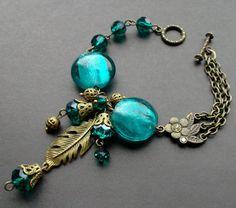 Bracelet aqua. bracelet lampwork crystal. by TatjJewelryWithSoul