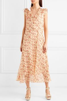 Bow-embellished Printed Cotton-organza Midi Dress - Ivory Miu Miu NKohd0oK4