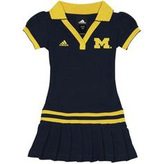 adidas Michigan Wolverines Infant Girls Polo Dress - Navy Blue