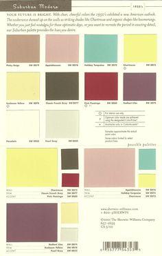"Sherwin Williams ""Suburban Modern"" 50's color palette"