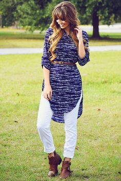 Time On The Heart Tunic: Navy/White #shophopes