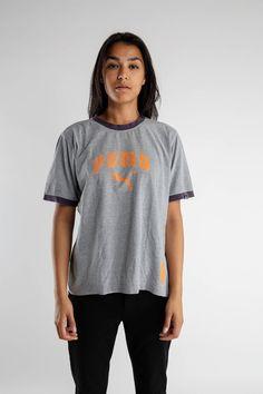2b0cfdac519b Vintage gray orange Puma T-shirt   90s Puma sports tee   Vintage men s puma  T-shirt   Sportswear   Gray Puma brand logo women s tee   Size L