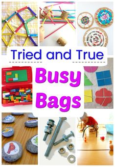 The absolute best Busy Bags for kids! Over 40 independent activities perfect for toddlers, preschoolers, and big kids too! School Age Activities, Quiet Time Activities, Indoor Activities For Kids, Kids Learning Activities, Toddler Activities, Toddler Games, Family Activities, Learning Time, Toddler Fun