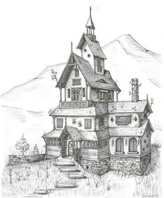 Architecture House Sketch custom house portrait - drawing of house in ink, black and white