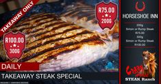 Takeaway Steak Special @ The Crazy Horse Steak Ranch in Kimberley located in the Horseshoe Inn Centre 🥩 Sirloin or Rump Steak FOR ONLY R Restaurant Specials, Rump Steak, Pizza Special, Crazy Horse, Daily Meals, Portal, Ranch, Campaign, Events
