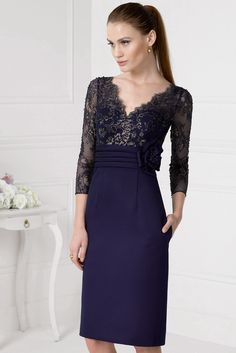 $126.09-Lace Bodice Long Sleeve Mother Of The Bride Dress. www.ucenterdress..... Tailor Made mother of the groom dress/ mother of the brides dress at #UcenterDress. We offer a amazing collection of 800+ Mother of the Groom dresses so you can look your best on your daughter's or son's special day. Low Prices, Free Shipping. #motherdress