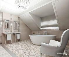 Projekt łazienki na poddaszu w stylu glamour - Architektura, wnętrza, technologia, design - HomeSquare
