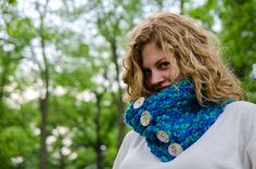 Knit Cowl with Mother of Pearl Buttons Made to Order