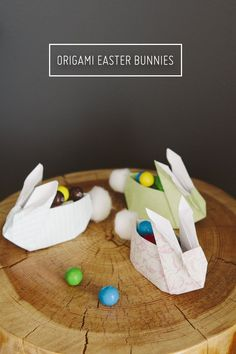 Origami Easter Bunnies with cotton tails - oh so cute!