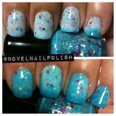 Mini Size 5 mL Teal Thermal Glitter Indie Nail by NovelNailPolish