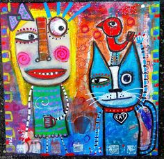 Tracey Ann Finley Original Outsider Folk Collage Painting Lady red Bird Blue Cat #OutsiderArt