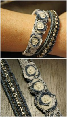 40 Incredible Repurposing Projects for Old Jeans that You Just aren't Ready to Toss More amazing denim bracelets are right here!Here are a couple of more really pretty denim bracelets you can make using old jeans, rhinestone beads, lace, and fabric Bracelet Denim, Fabric Bracelets, Cuff Bracelets, Recycled Bracelets, Gypsy Bracelet, Jewelry Crafts, Jewelry Art, Handmade Jewelry, Jewelry Design
