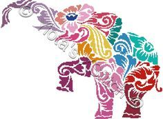 Tribal elephant in colour cross stitch kit | Yiotas XStitch