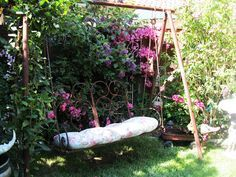 using an old metal swingset for gardening - Google Search
