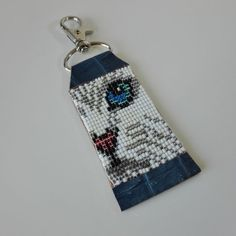CAT BEADED KEYCHAIN /  Etsy#WHITECAT# #CATKEYCHAIN# #CATPENDANT# #CATKEYRING# #BEADEDCAT# Cat Keychain, Leather Keychain, Brick Stitch Earrings, Seed Bead Earrings, Cat Lover Gifts, Cat Gifts, Beaded Moccasins, Bead Loom Bracelets, Bead Embroidery Jewelry