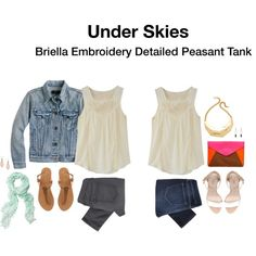 Briella Embroidery Detailed Peasant Tank I love the look of the top with jean jacket and jeans. Cute. Casual. Comfortable