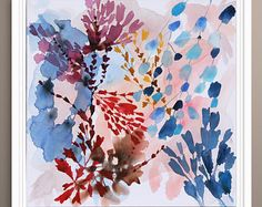 Abstract Painting, Abstract Painting Print, Giclee Print, pink, blue and white painting