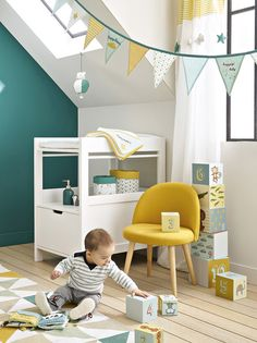 A boy& room in blue and yellow – Joli Place - Baby Bedroom, Nursery Room, Boy Room, Kids Bedroom, Bedroom Ideas, Shabby Chic Bedroom Furniture, Blue Furniture, Shabby Chic Bedrooms, Furniture Stores