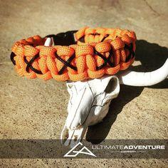 Orange Paracord Bracelet with Black X Thread, Hunting Fashion, Fathers Day Gift, Mens Bracelet, EDC, EDC Bracelet, Wanderlust Accessories