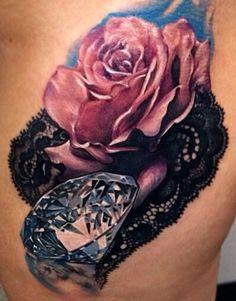Pink rose, lace, diamond tattoo
