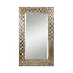 Uttermost Mondego 43-Inch x 73-Inch Rectangular Woven Nickel Mirror - www.BedBathandBeyond.com