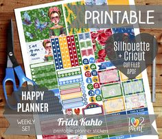 Frida Kahlo Watercolor Weekly Printable Planner Stickers, Happy Planner Stickers, HP planner, Mambi Stickers, Cut files, Cricut Files