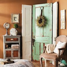 Using 2 old doors to create a screen, a shabby chic look. Just use metal brush to remove loose and seal with varnish if you want a smoother finish.
