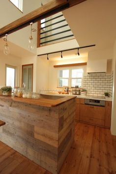 Kitchen island ideas for inspiration on creating your own dream kitchen. diy painted small kitchen design - with seating, lighting Big Kitchen, Kitchen Dinning, Wooden Kitchen, Kitchen Decor, Kitchen Island, Kitchen Design, Japanese Kitchen, Japanese House, Japanese Interior