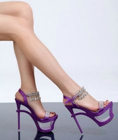 amazing purple open platform heel with sexy bling detail