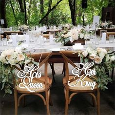 "His Queen-Her King Chair Signs. Wood Wedding Reception Chair Signs -Please Send your phone number in ""NOTE to the seller"" Wedding Chair Signs, Wedding Reception Table Decorations, Wedding Chairs, Wedding Table Numbers, Wedding Place Names, Wedding Places, King Chair, Queens Wedding, Kings Table"