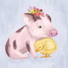 Great for Wheatly Sweet Baby Pig and Chick Canvas Art by Harriet Bee baby kid teen offer from top store Pig Drawing, Chicken Painting, The Barnyard, Pig Art, Baby Chickens, Baby Pigs, Cute Pigs, Image Hd, Animal Paintings