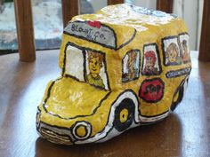 Bus I made with a Rock,For My Grand son.