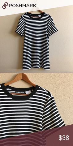 B&W Stripe T-Shirt Dress Soft, medium weight knit in black and white stripe. Check length measurement, could be worn as a mini! *Listed as LF for search visibility.  BRAND: Sag Harbor MATERIAL: cotton blend YEAR/ERA: 80s LABEL SIZE: - BEST FIT: M  MEASUREMENTS: Chest 21 inches  Length 30 inches   🚫 I do not model or trade, sorry! 💟 Check out my closet for more vintage! LF Tops Tees - Short Sleeve
