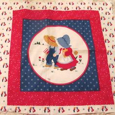 Country Boy and Girl Fabric Pillow Panel by NewAgain on Etsy