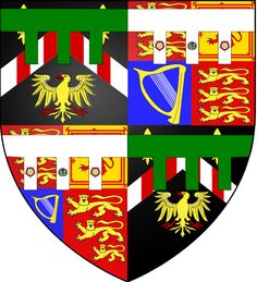 Arms of David Armstrong-Jones, Viscount Linley.   The Viscount's personal coat of arms are those of his father quartered with those of his mother.