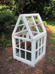 6 old windows are combined to assemble this easy, low-cost tiny greenhouse.