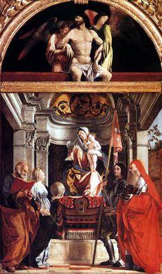 Artista:Lorenzo Lotto (1480-1556)  Obra:Altar de Santa Cristina al Trivarone  Año de origen:1505  Tamaño original:162 x 177 cm  técnica:Madera, Pintura al óleo sobre lienzo / papel