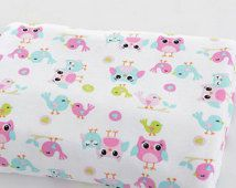 Cute baby knit fabric pink and blue owl and birds knit fabric kid's fabric blanket fabric bedding fabric baby clothes fabric