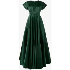 Rochas Duchesse Satin Silk Long Dress ($1,700) ❤ liked on Polyvore featuring dresses, gowns, short sleeve dress, green dress, long sleeve short dress, flared dresses and green silk dress